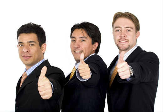 Stock Photo: 1525R-114951 business team of success with thumbs up - isolated over a white background