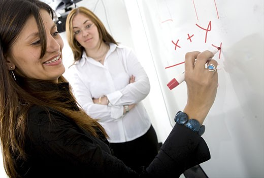 female student with teacher near her writing on a blackboard during a maths lesson - over a white background with the focus on her hand : Stock Photo