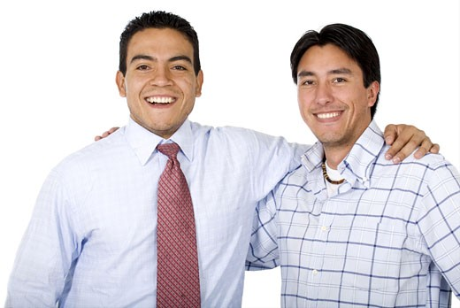 male business partners smiling - isolated over a white background : Stock Photo