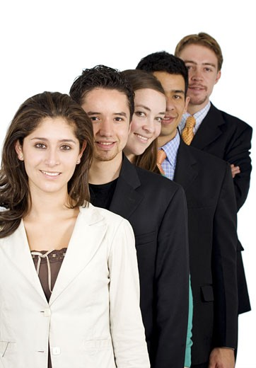 group of business people - all young and successful businessmen and businesswomen isolated over a white background : Stock Photo