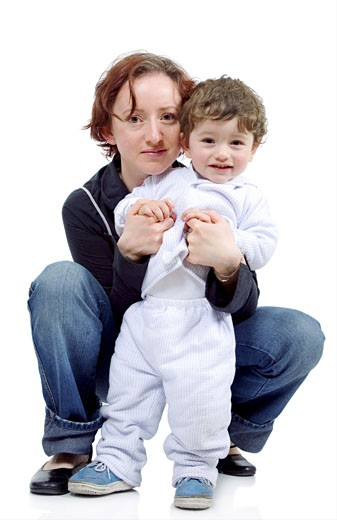 Stock Photo: 1525R-116637 mother and son isolated over a white background