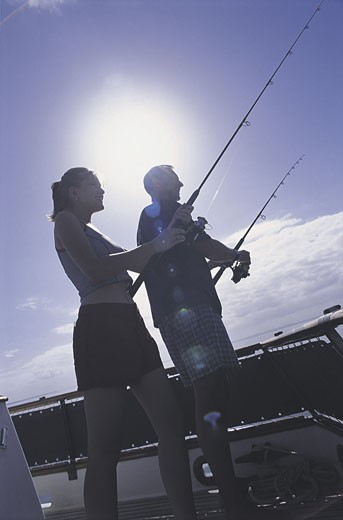 Stock Photo: 1525R-1167 couple fishing