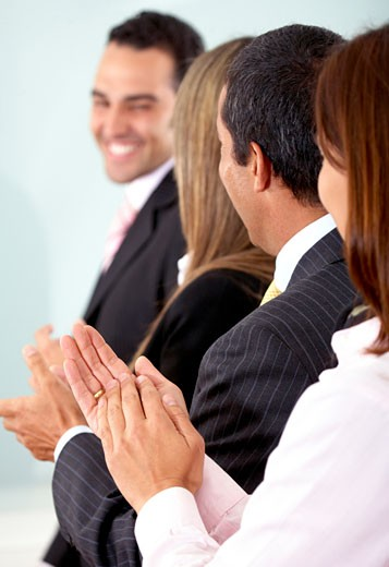 business team clapping a good presentation : Stock Photo