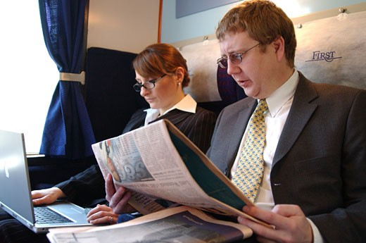 commuters on train : Stock Photo