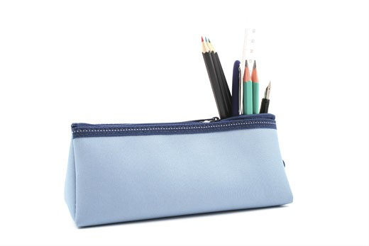 blue pencil case with school supplies isolated on white : Stock Photo