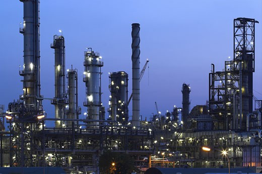 This is a big oil-works in night ligths. : Stock Photo
