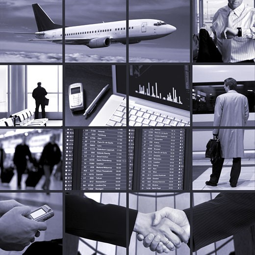 Conceptual image-grid of business photos: business trip. : Stock Photo
