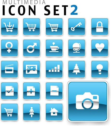 flat icon blue  : Stock Photo