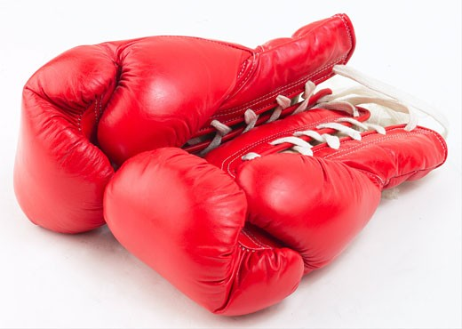 Red leather boxing gloves L4 : Stock Photo