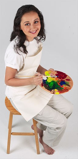 Artist with paint palette : Stock Photo