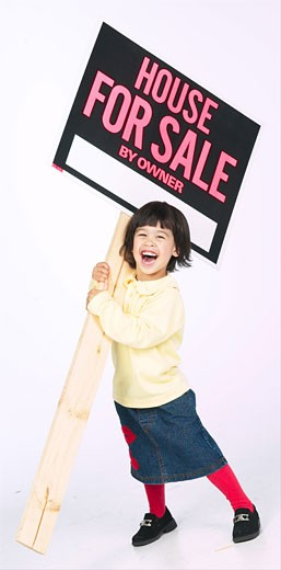 Stock Photo: 1525R-13453 girl with sale sign BE 1