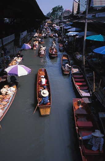 Stock Photo: 1525R-13695 Arial view of the Floating Market in Bangkok