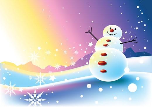 happy Snowman Scene : Stock Photo