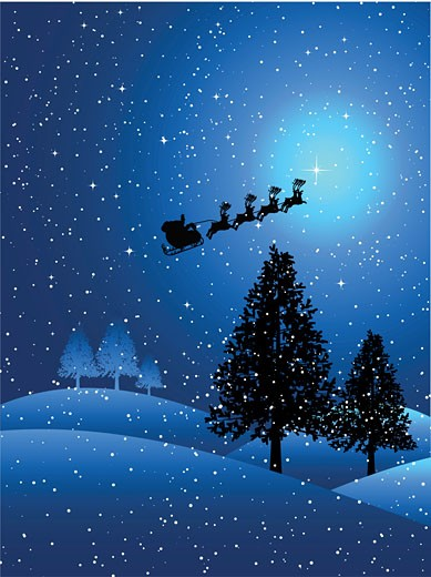 Stock Photo: 1525R-140129 santa on a snowy night