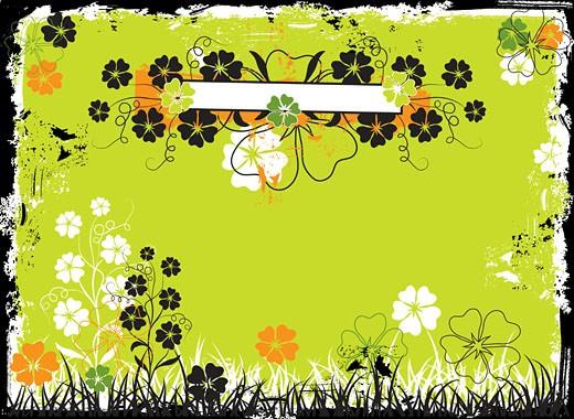 Grunge floral frame, vector : Stock Photo