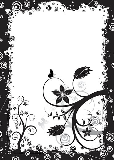 Grunge floral frame, vector : Stock Photo