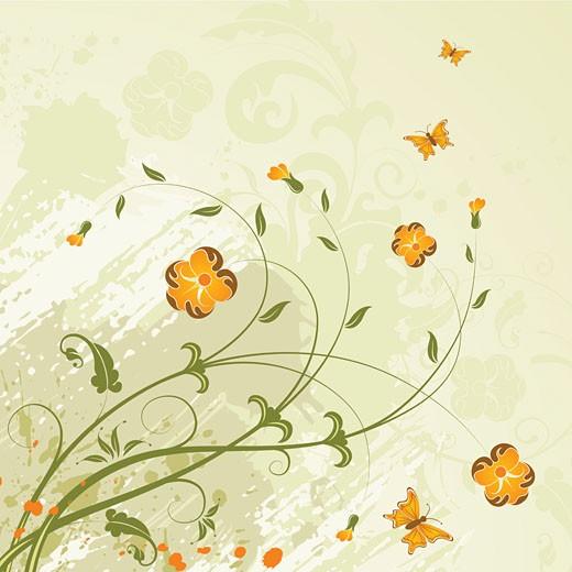 Stock Photo: 1525R-142632 Grunge flower background