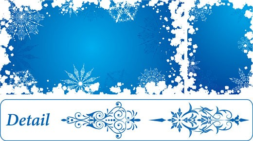 Snowflake grunge frame, elements for design, vector : Stock Photo