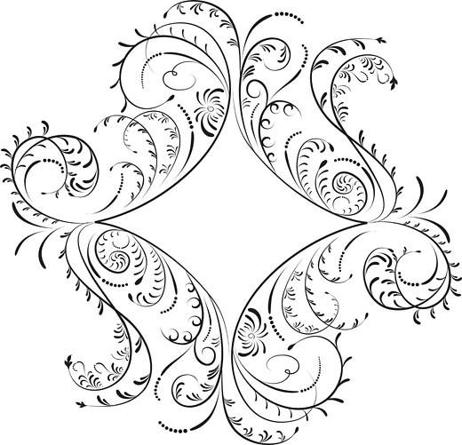 Element for design, corner flower, vector : Stock Photo