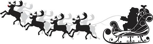 Christmas santa and deers, vector : Stock Photo