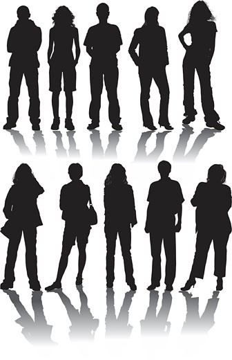 Stock Photo: 1525R-143499 Vector silhouettes man and women