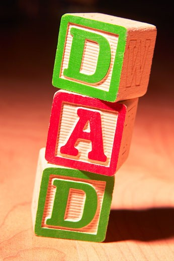 Stock Photo: 1525R-14598 Blocks spelling out the word dad