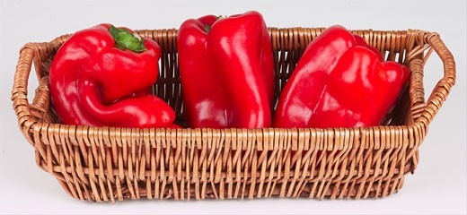 Stock Photo: 1525R-14803 red peppers in basket