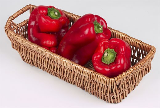 red peppers in basket  : Stock Photo