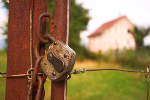 Old Rusty Padlock on Country Gate : Stock Photo