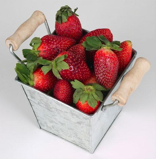 Stock Photo: 1525R-14866 Basket of strawberries