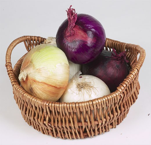 onions in basket  : Stock Photo