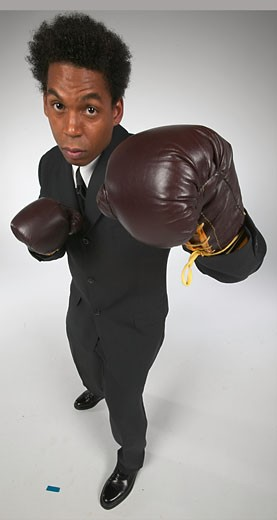 Stock Photo: 1525R-16006 Man standing in a boxing stance