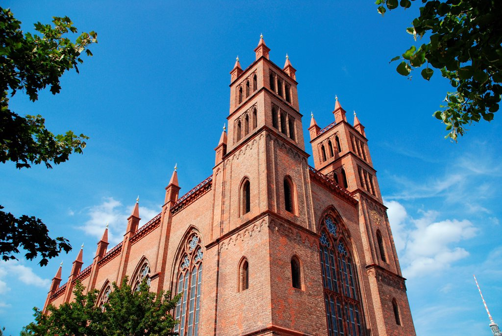 Red brick church, Berlin : Stock Photo