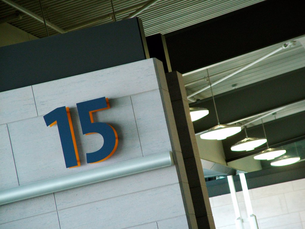 Gate 15 departures gate at airport. : Stock Photo