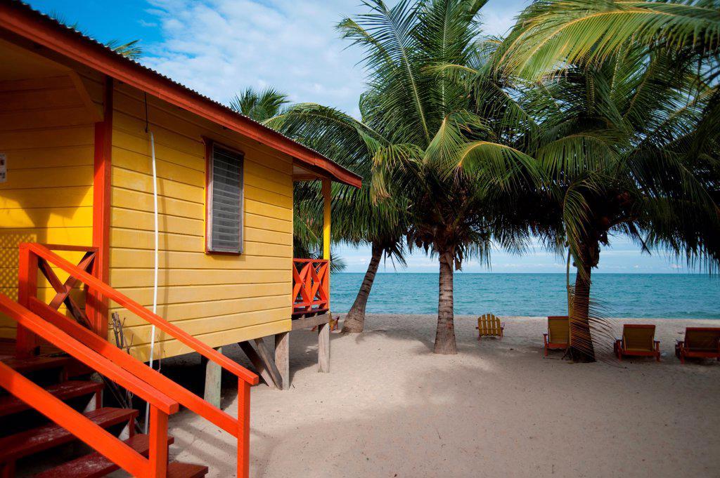 Stock Photo: 1525R-195502 Placencia, House on Beach