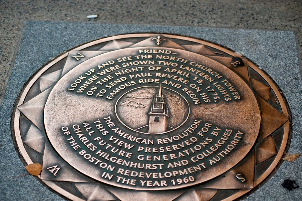 Stock Photo: 1525R-195621 Paul Revere plaque on the sidewalk in Boston, Massachusetts, USA