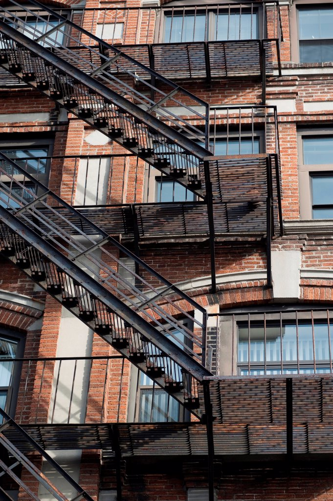 Stock Photo: 1525R-195682 Exterior fire escape on a building in Boston, Massachusetts, USA