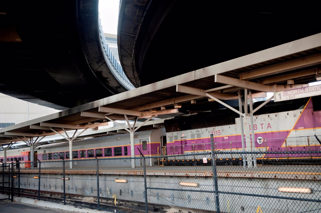 Commuter train in Boston, Massachusetts, USA : Stock Photo