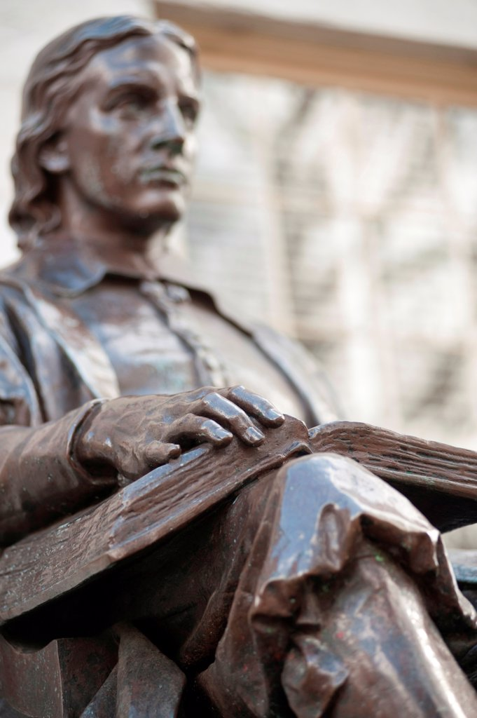 John Harvard statue at Harvard University in Boston, Massachusetts, USA : Stock Photo