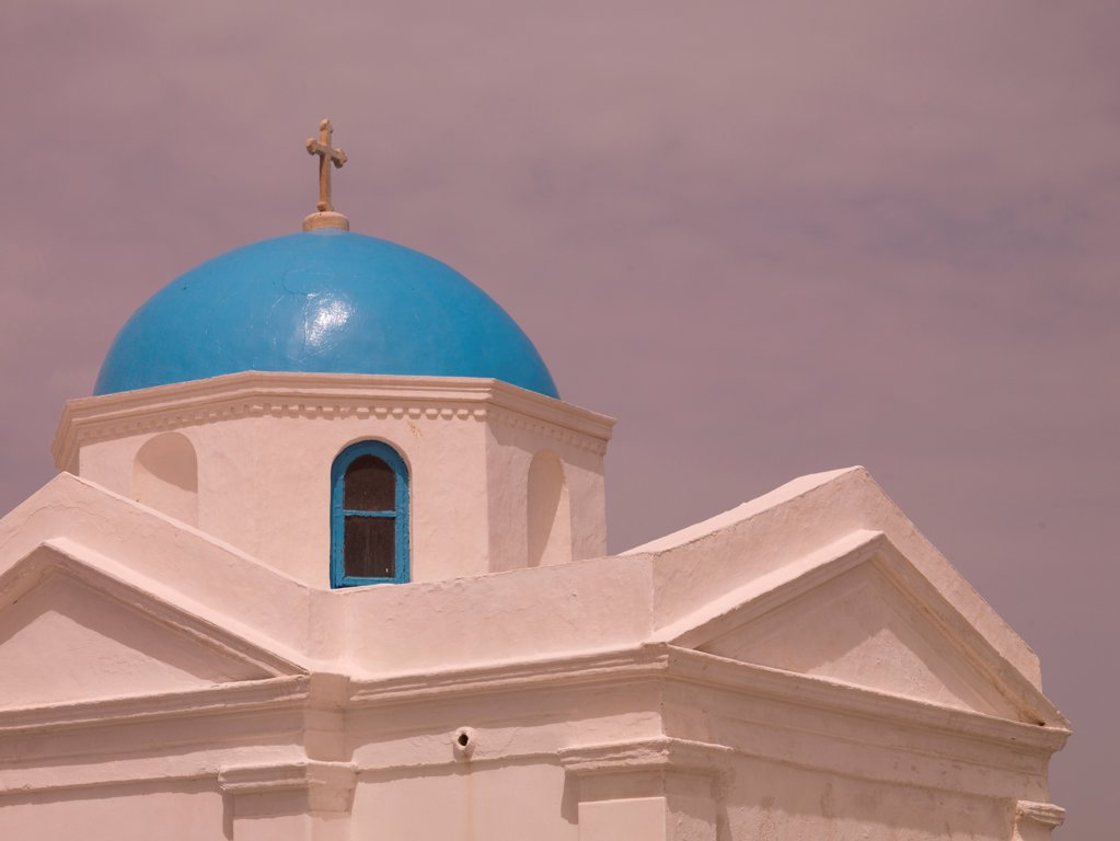 Stock Photo: 1525R-197067 Crucifix on top of dome in Mykonos Greece