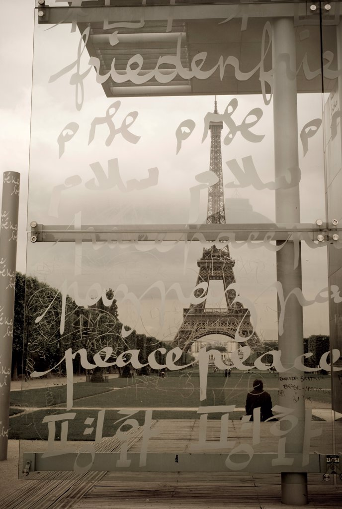 Script on panels in Paris France : Stock Photo