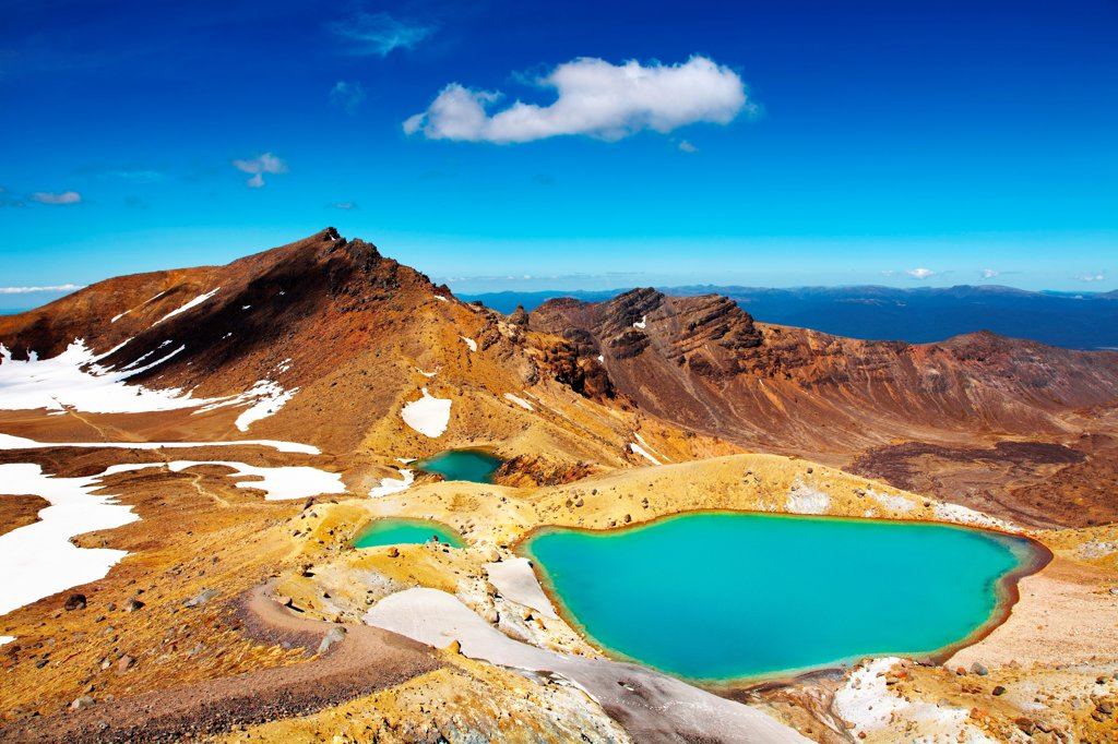 Emerald Lakes, Tongariro National Park, New Zealand : Stock Photo
