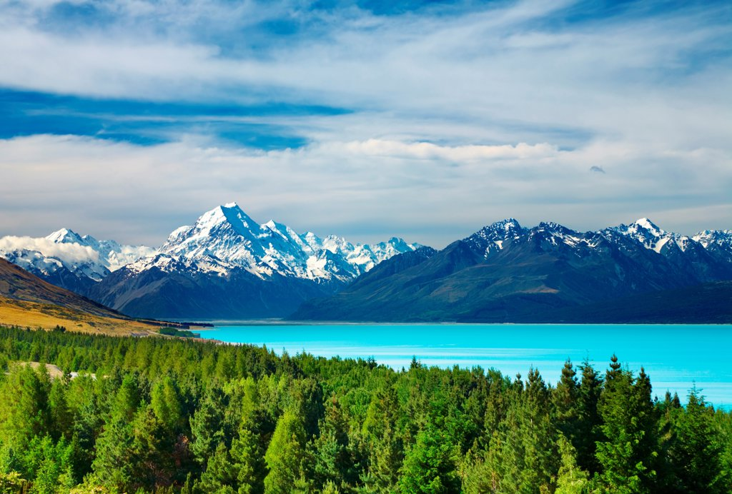 Mount Cook and Pukaki lake, New Zealand : Stock Photo