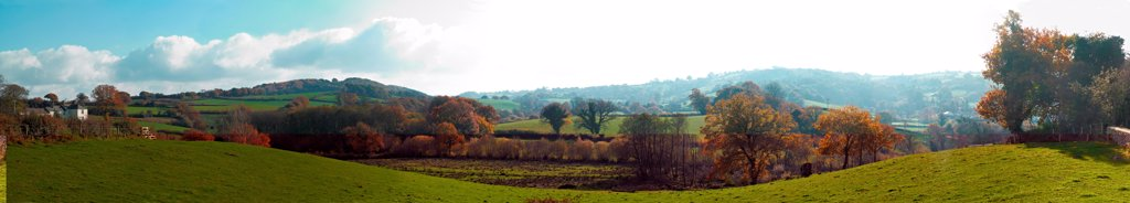 Panoramic view of autumnal country-side in Chagford Devon : Stock Photo