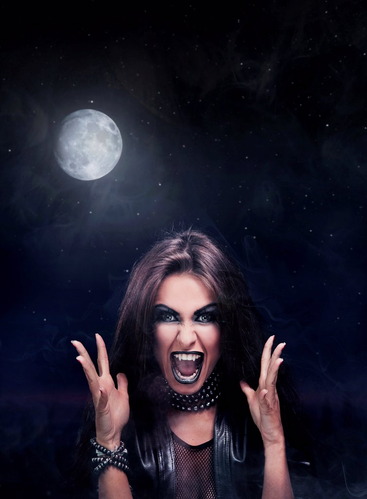 Stock Photo: 1525R-203082 Evil rock-star woman