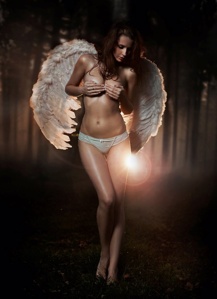 Fine art photo of a woman-angel : Stock Photo