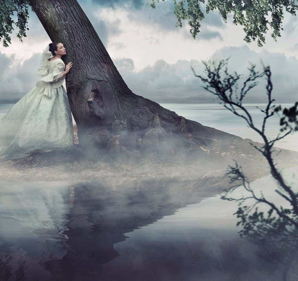Stock Photo: 1525R-203758 Fine art photo of a woman in beauty scenery