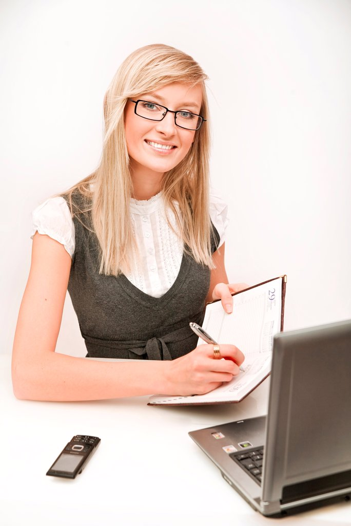 Beautiful businesswoman thinking : Stock Photo
