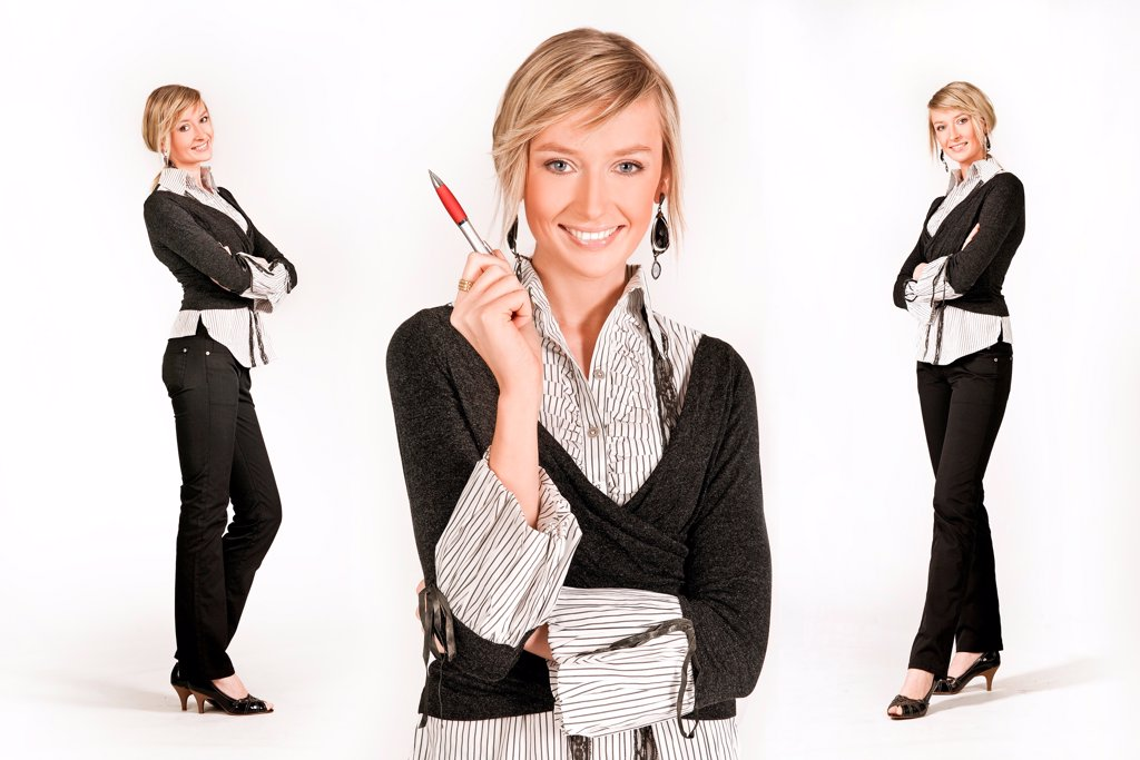 Three young happy businesswoman, different poses : Stock Photo