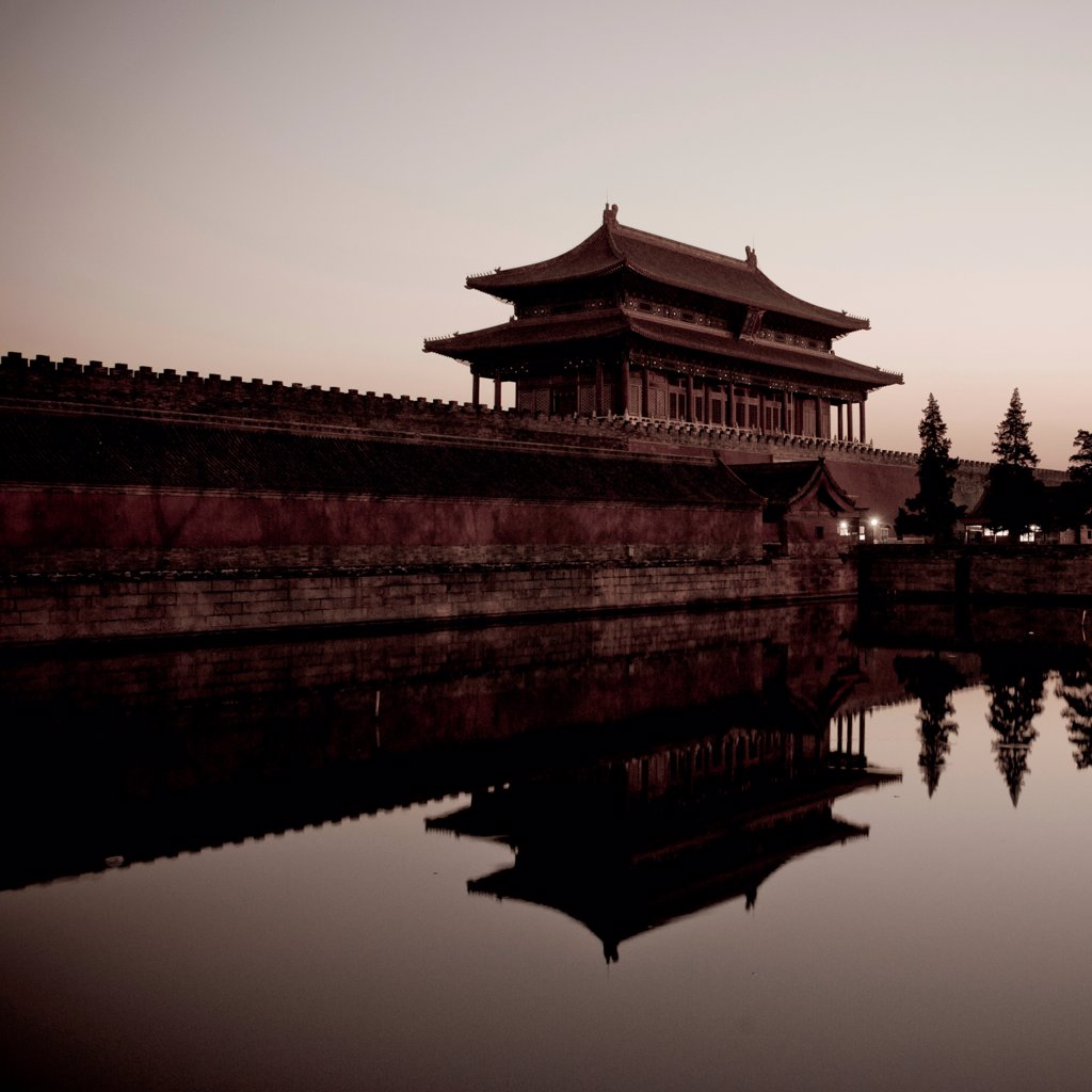 Stock Photo: 1525R-206132 Moat around Forbidden City at Sunset